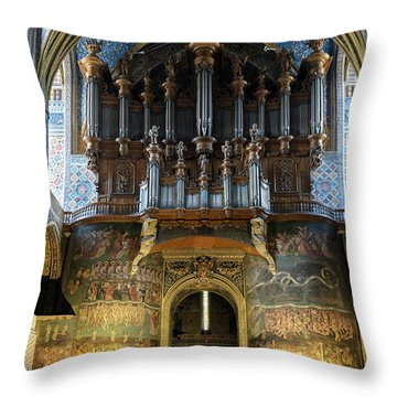 Fresco Of The Last Judgement And Organ In Albi Cathedral Throw Pillow by RicardMN Photography