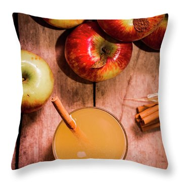 Fresh Apple Cider With Cinnamon Sticks And Apples Throw Pillow