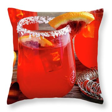 Throw Pillow featuring the photograph Fresh Blood Orange Margaritas by Teri Virbickis