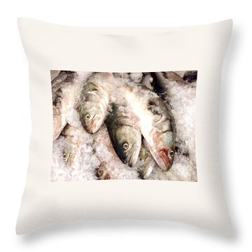 Fresh Catch Haymarket  Boston Massachusetts Throw Pillow by Patricia E Sundik