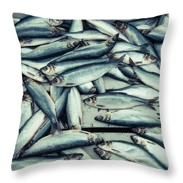 Throw Pillow featuring the photograph Fresh Caught Herring Fish by Edward Fielding