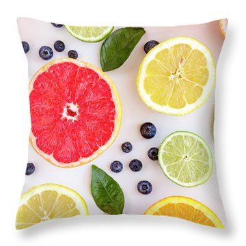 Fresh Citrus Fruits Throw Pillow