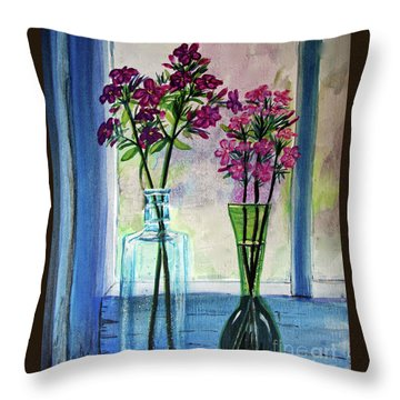 Throw Pillow featuring the painting Fresh Cut Flowers In The Window by Patricia L Davidson