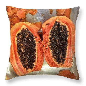 Fresh Cut Papaya Throw Pillow
