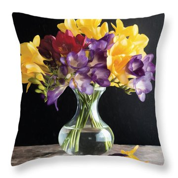 Fresh Freesias Throw Pillow