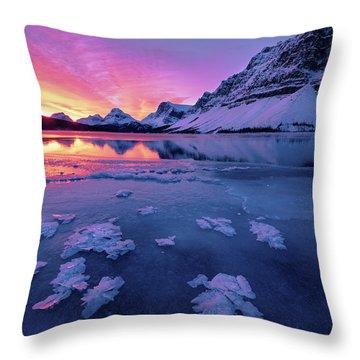 Fresh Ice On Bow Lake Throw Pillow