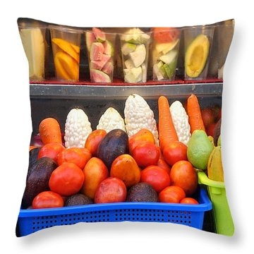 Throw Pillow featuring the photograph Fresh Juice Street Vendor by Yali Shi