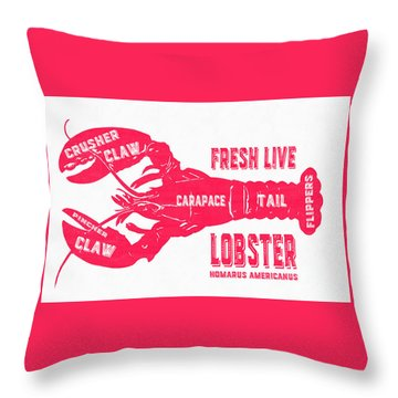 Fresh Live Lobster Vintage Sign Throw Pillow