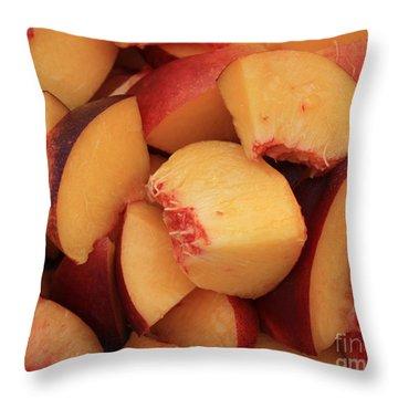 Fresh Peaches Throw Pillow by Carol Groenen