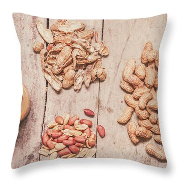 Fresh Peanuts, Shells, Raw Nuts And Peanut Butter Throw Pillow