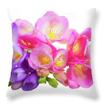 Fresh Pink And Violet Freesia Flowers Throw Pillow