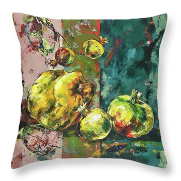 Fresh Quince And Pomegranate Throw Pillow