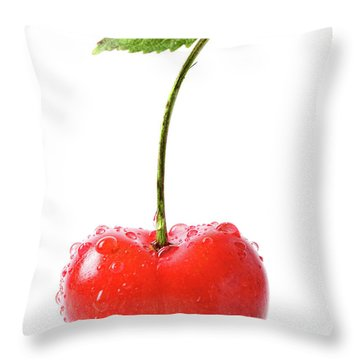 Fresh Red Cherry Isolated On White Throw Pillow by Sandra Cunningham