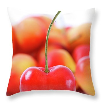 Fresh Ripe Cherries Isolated On White Throw Pillow by Sandra Cunningham