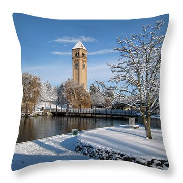 Fresh Snow In Riverfront Park - Spokane Washington Throw Pillow by Daniel Hagerman