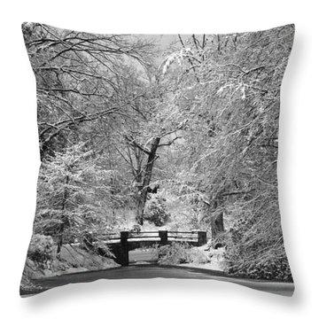 Fresh Snowfall At Mount Auburn Cemetery Throw Pillow