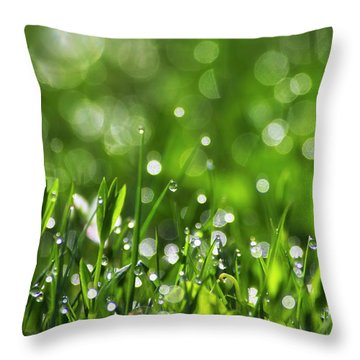 Fresh Spring Morning Dew Throw Pillow by Christina Rollo