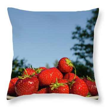 Throw Pillow featuring the photograph Fresh Strawberriesl by Kennerth and Birgitta Kullman