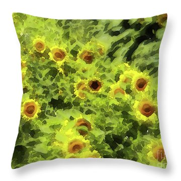 Fresh Sunflowers Throw Pillow by Methune Hively