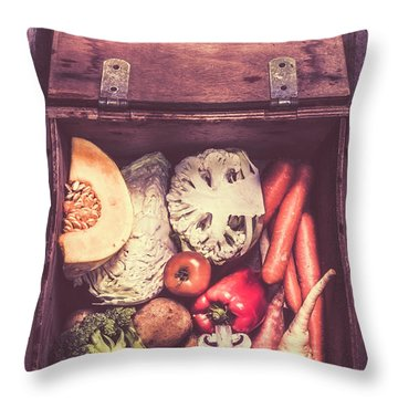 Fresh Vegetables In Wooden Box Throw Pillow by Jorgo Photography - Wall Art Gallery