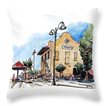 Throw Pillow featuring the painting Old Fresno Depot by Terry Banderas
