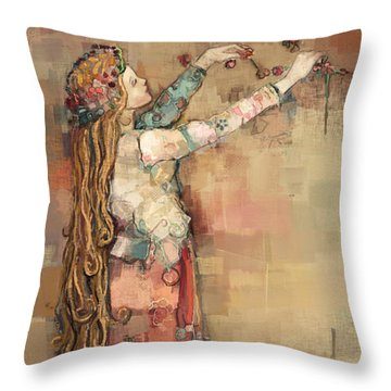 Freyja And Her Cats Throw Pillow