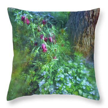 Throw Pillow featuring the photograph Fritillaria And Forget-me-nots  by Connie Handscomb
