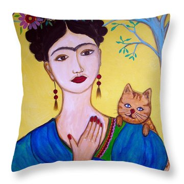 Frida And Her Cat Throw Pillow by Pristine Cartera Turkus