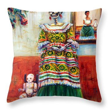 Throw Pillow featuring the painting Frida And Her Doll by Heather Calderon