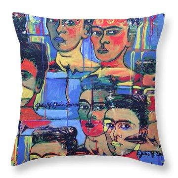 Frida Blue And Orange Throw Pillow