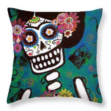 Throw Pillow featuring the painting Frida Dia De Los Muertos by Pristine Cartera Turkus