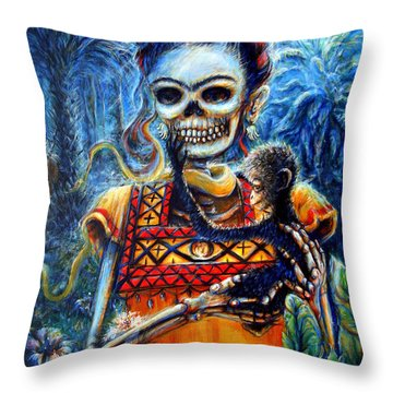 Throw Pillow featuring the painting Frida In The Moonlight Garden by Heather Calderon