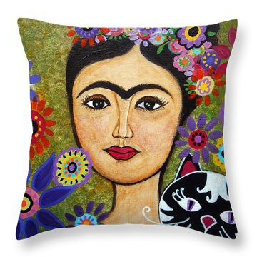 Frida Kahlo And Cat Throw Pillow