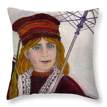 Frida On Her Way Throw Pillow by Ray Tapajna