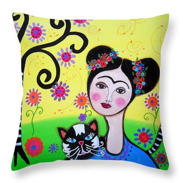 Frida With Her Cat Throw Pillow by Pristine Cartera Turkus