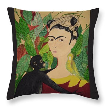 Frida With Monkey And Bird Throw Pillow by Stephanie Moore