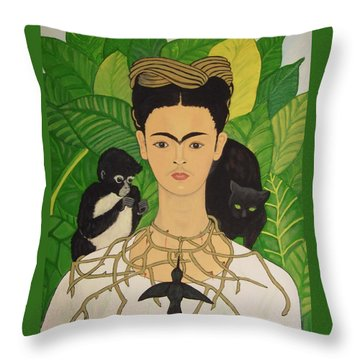 Frida With Monkey And Cat Throw Pillow by Stephanie Moore