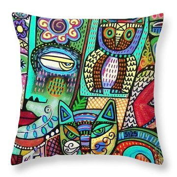 -frida's Garden Owl And Cat Throw Pillow