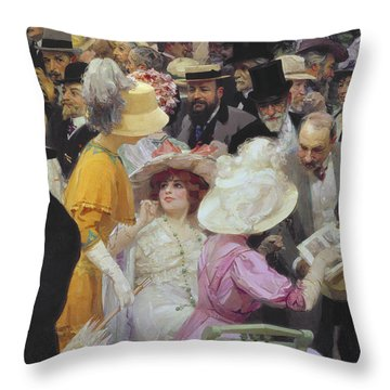 Friday At The French Artists Salon Throw Pillow by Jules Alexandre Grun