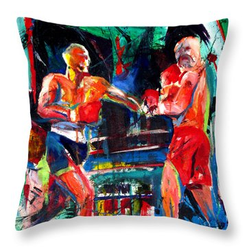 Throw Pillow featuring the painting Friday Fight by John Jr Gholson