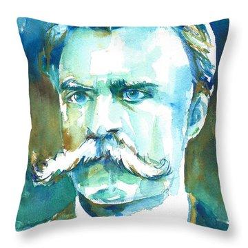 Friedrich Nietzsche Watercolor Portrait.1 Throw Pillow