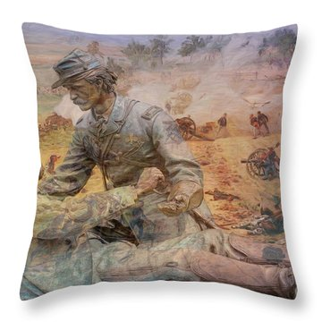 Friend To Friend Monument Gettysburg Battlefield Throw Pillow by Randy Steele