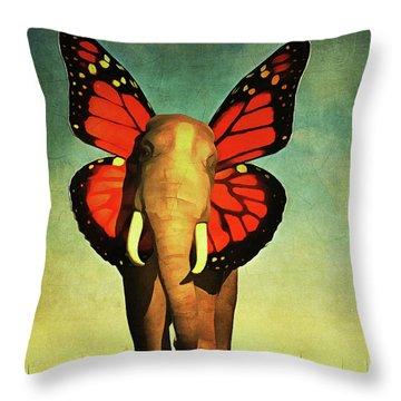 Friendly Elephant Throw Pillow