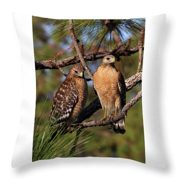 Friendly Raptors Throw Pillow