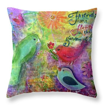 Throw Pillow featuring the painting Friends Always Together by Claire Bull