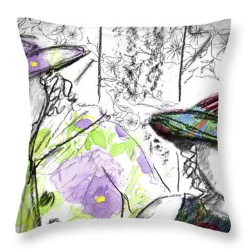 Throw Pillow featuring the painting Friends And Flowers by Cathie Richardson