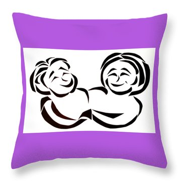 Throw Pillow featuring the mixed media Friends by Delin Colon
