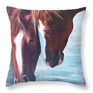 Throw Pillow featuring the painting Friends For Life by Karen Kennedy Chatham
