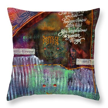 Throw Pillow featuring the mixed media Friends Forever by Angela L Walker