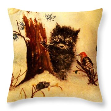 Throw Pillow featuring the painting Friends Forever by Hazel Holland
